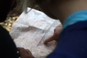 A man looking at the map.