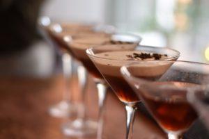 Cocktails on a bar.