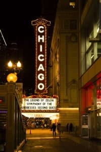 Chicago theater, with its shinny sign
