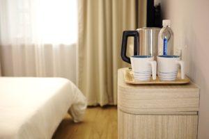 Coffee mugs in hotel room