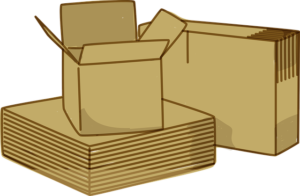 Several disassembled and one assembled box