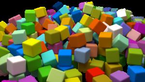 Cubes random colored.