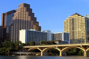 A view of buildings in Austin.