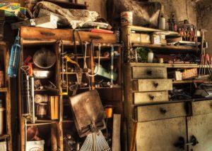 A messy basement.