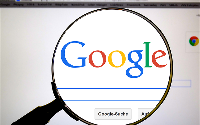 A view of the Google search engine throught a magnifying glass.