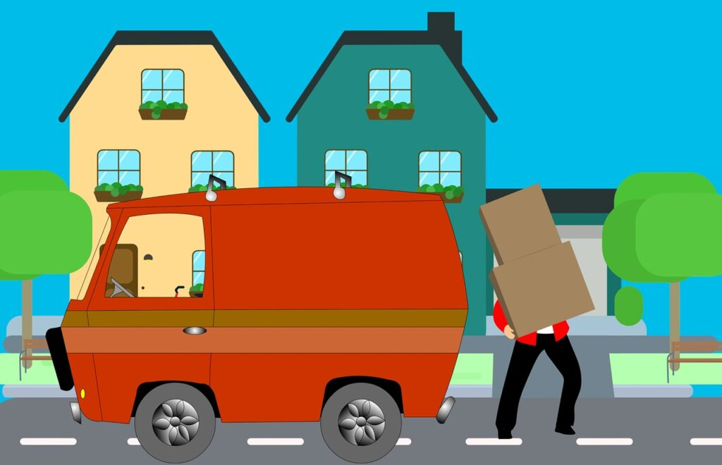 Mover holding boxes in front of a house and a van.