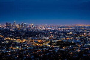 Los Angeles by night, the view that makes it impossibe to believe that the LA population is shrinking.