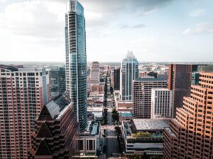 aerial view of Austin after relocating from California to Texas