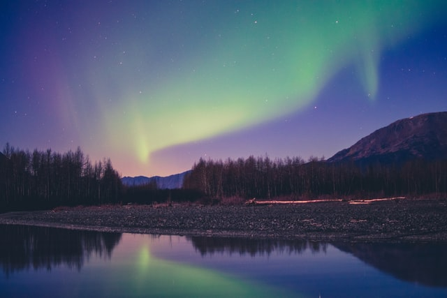 Aurora Borealis at night over the woods