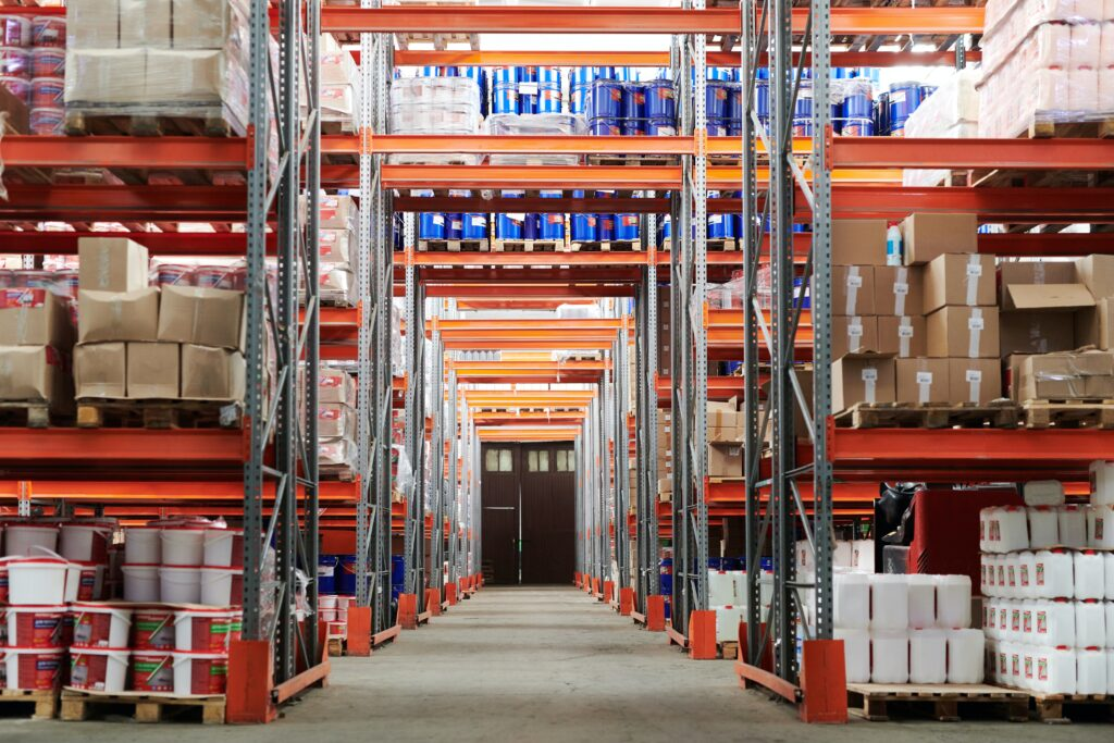 Commercial warehouse with stacked boxes.