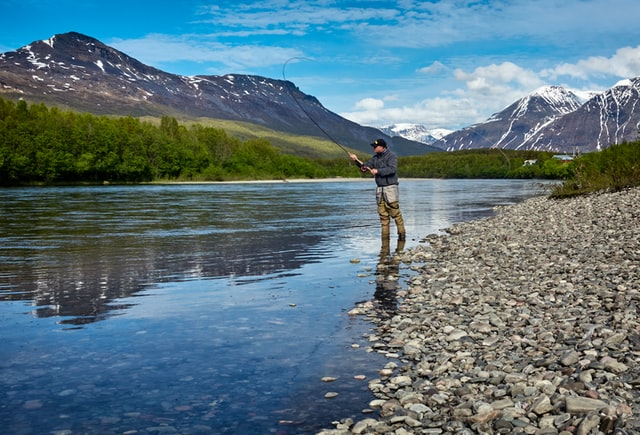 A man fishing in Alaska