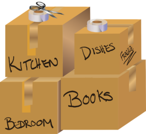 Labeled packing boxes as an example of a good packing strategy once you decide to expand your New Jersey-based IT company to San Diego.