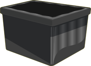 A black container one can use for the items when involved inmaintaining a storage unit.