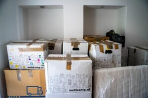 Boxes packed for moving from NYC to San Diego