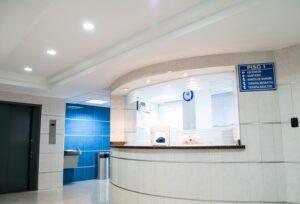 A white hospital waiting room